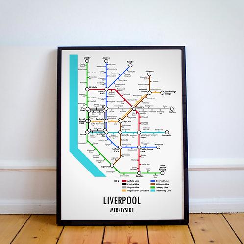 Liverpool, Merseyside | Underground Style Map