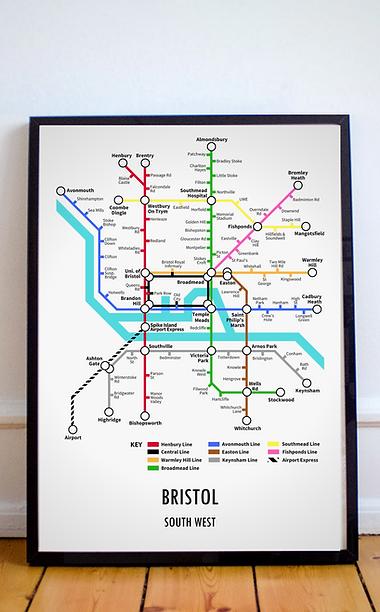 Bristol, South West   Underground Style Map
