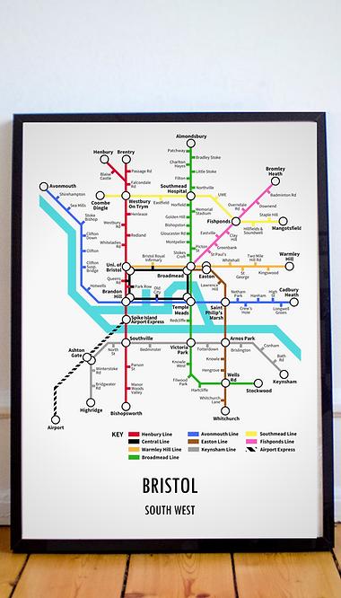 Bristol, South West | Underground Style Map