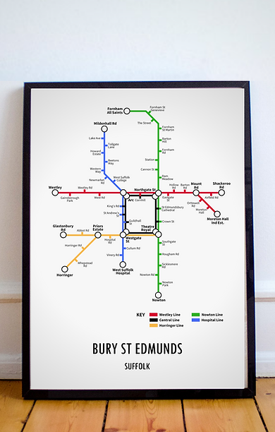 Bury St Edmunds, Suffolk | Underground Style Map