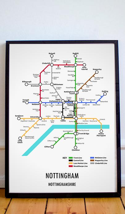 Nottingham, Nottinghamshire | Underground Style Map