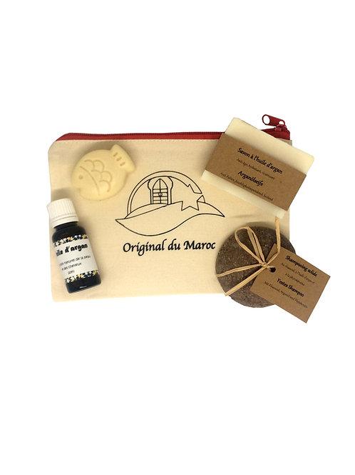 trousse de voyage - huile d'argan - savon d'argan - shampooing solide rhassoul - déodorant solide | originaldumaroc.ch