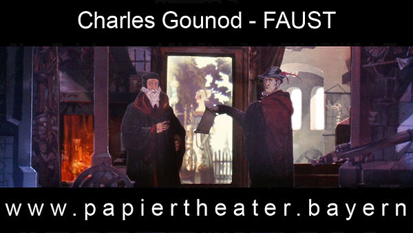 Das Foto zeigt eine Szene aus unerer Papiertheaterbearbeitung von Charles Gounods Meisterwerk Faust.