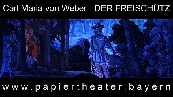 Das Foto zeigt eine Szene aus unserer Papiertheaterbearbeitung von Carl Maria von Webers Oper Der Freischütz.