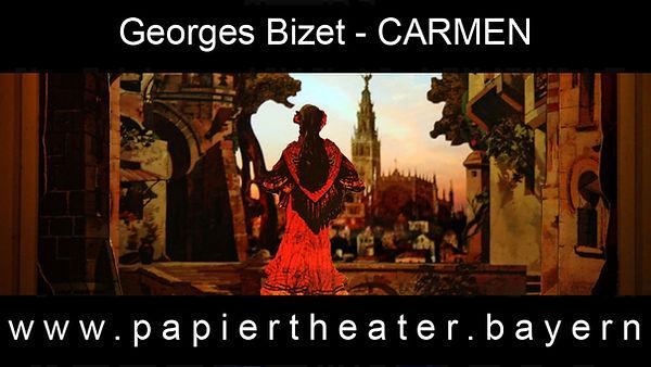 Das Foto zeigt eine Szene aus unerer Papiertheaterbearbeitung von Georges Bizets Oper Carmen.