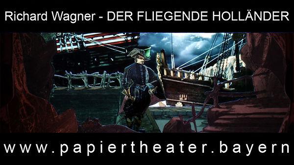 Das Foto zeigt eine Szene aus unserer Papiertheaterbearbeitung von Richard Wagners Oper Der fliegede Holländer.