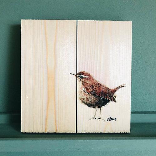 vogel op hout (winterkoninkje) eikenhout