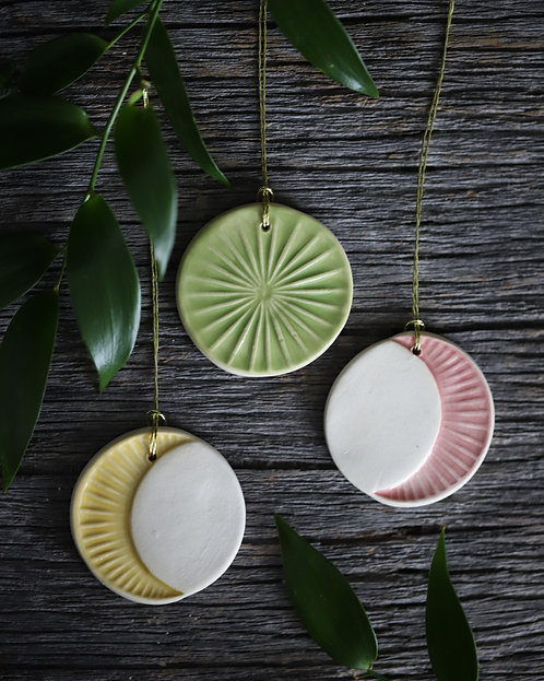 """Moon Phase Ornaments (Set of 3, 1.75"""")"""