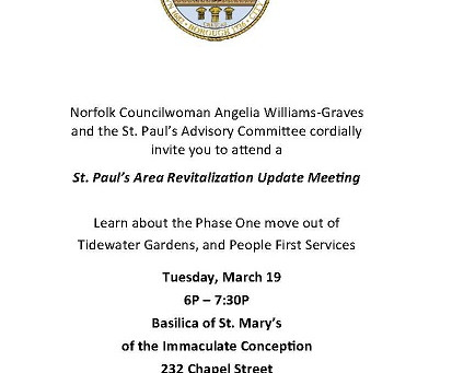 REMINDER - St. Paul's Area Community Meeting