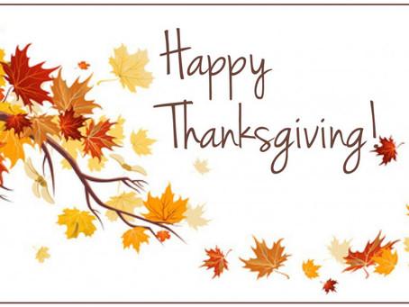 Thanksgiving Holiday Closings