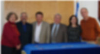 Celebrating our 10th Anniversary. L-R Vivian Jacobson, Lowell Simon, Rabbi Herman, Rabbi Brickman, Mindy Fineman and Bernie Rosenblum
