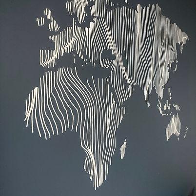 illustration du monde mur bleu-pigmenter