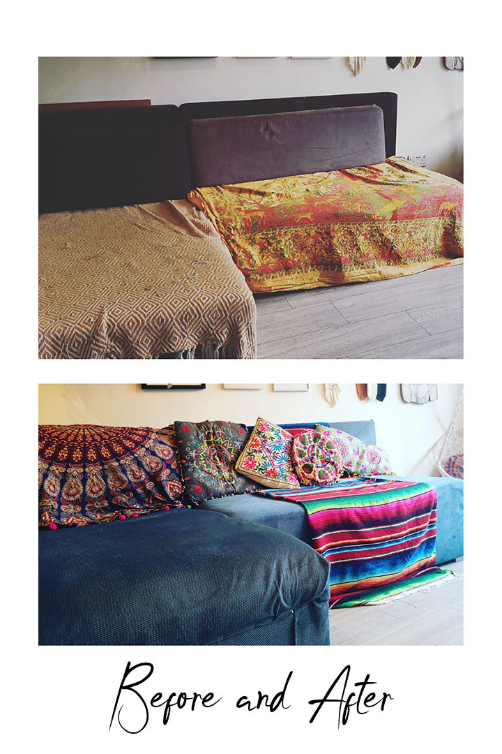 Before and after upcycled sofa bed