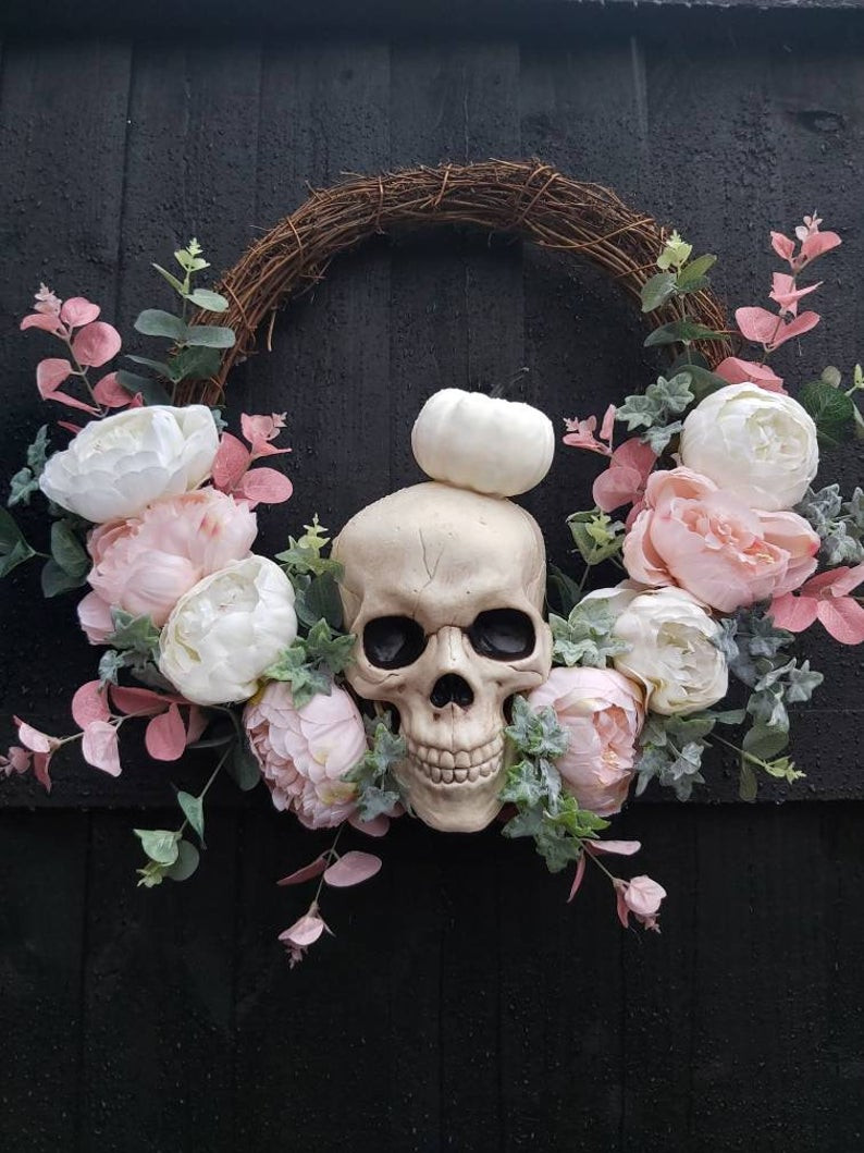 Halloween floral skeleton wreath