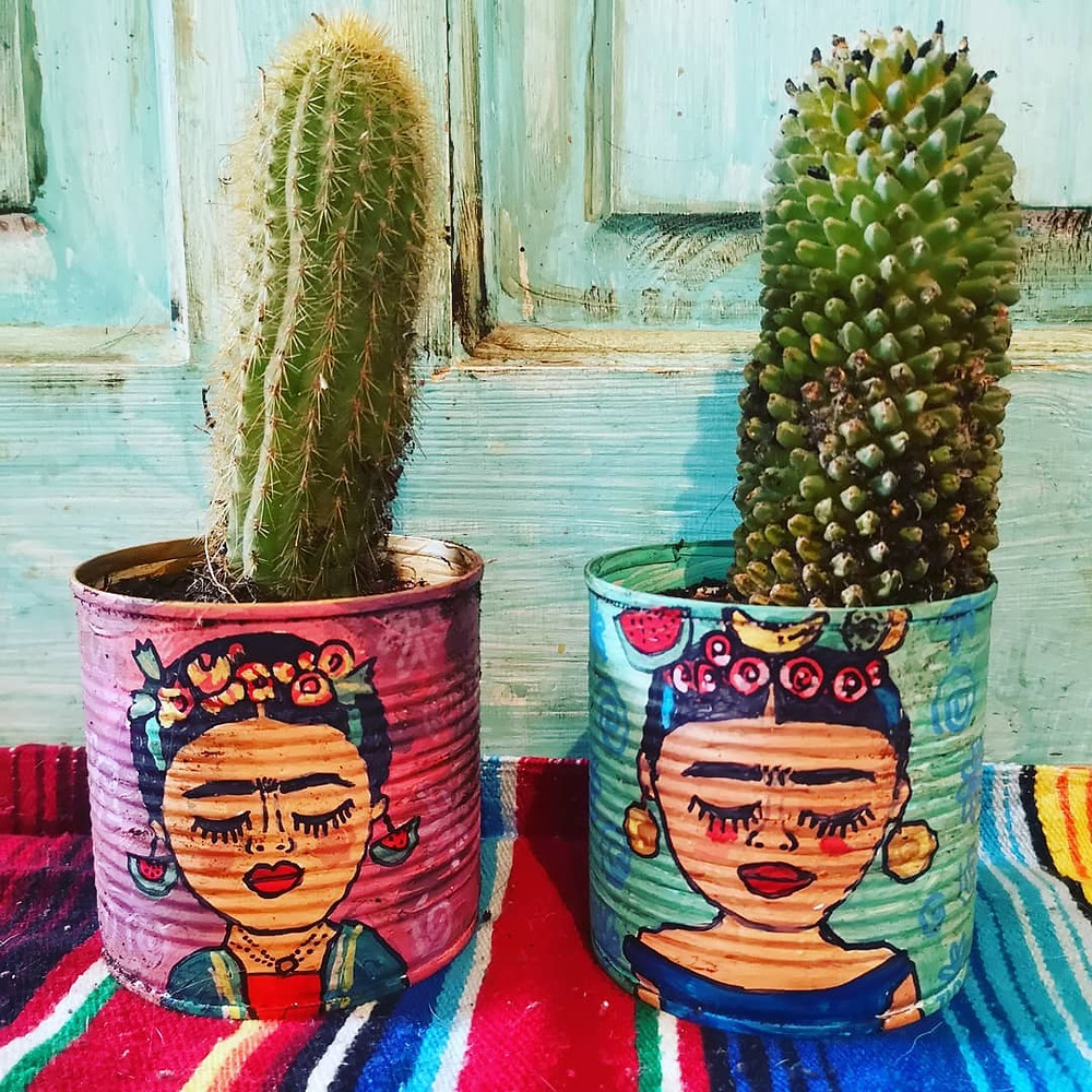 Frida Kahlo inspired upcycled cactus pots from tin cans