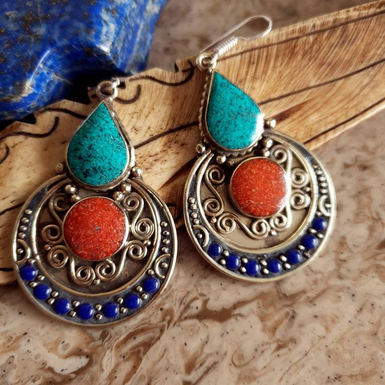 Tibetan style boho earrings