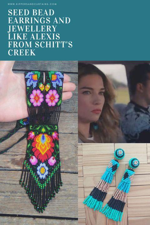 Seed bead earrings jewellery Alexis Schitt's Creek