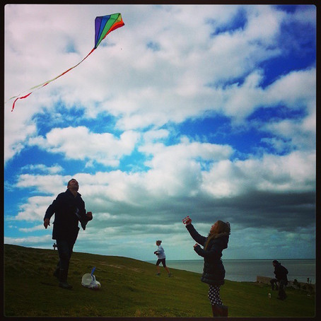 Kite flying at the Birling Gap