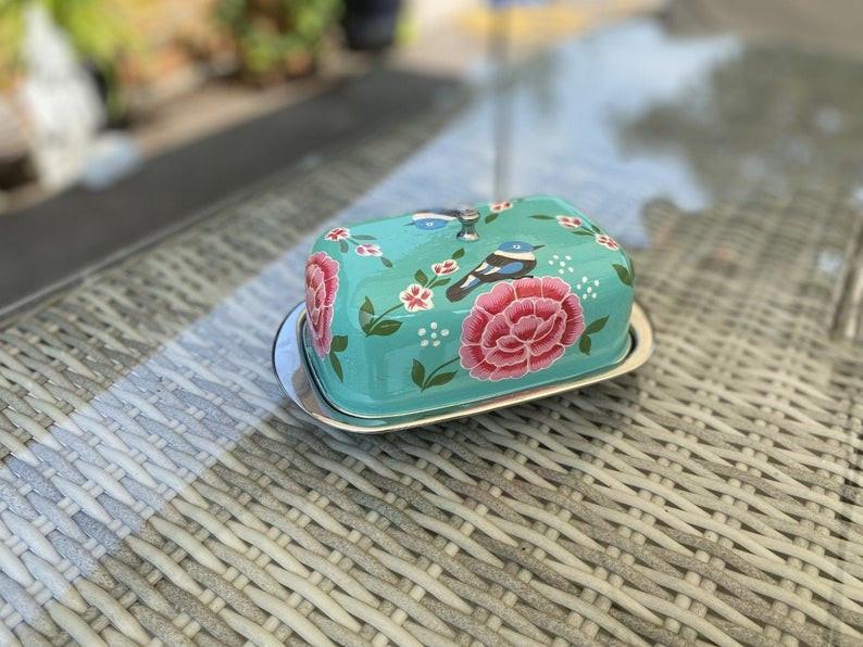 boho painted kitchen butter dish