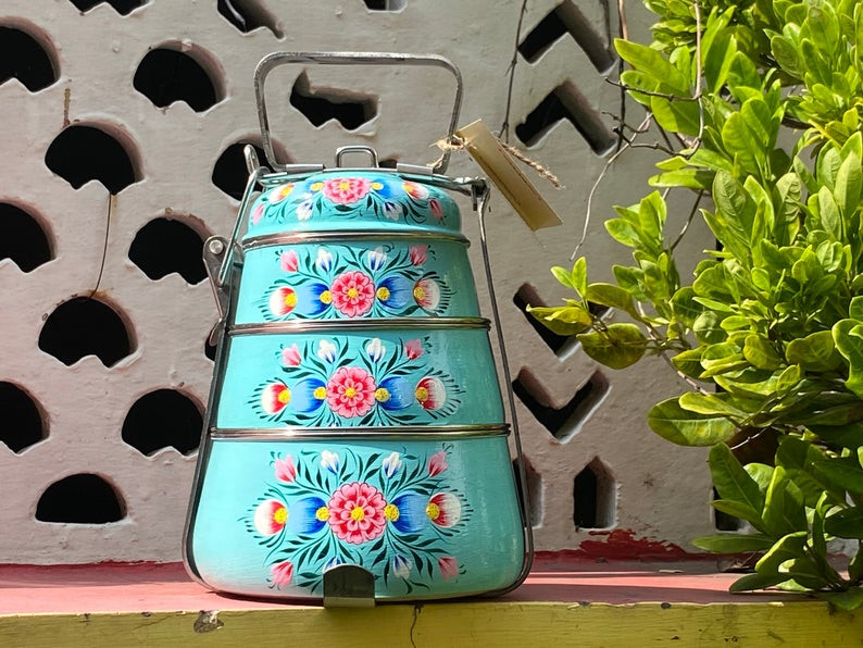 boho painted tiffin enamel folk