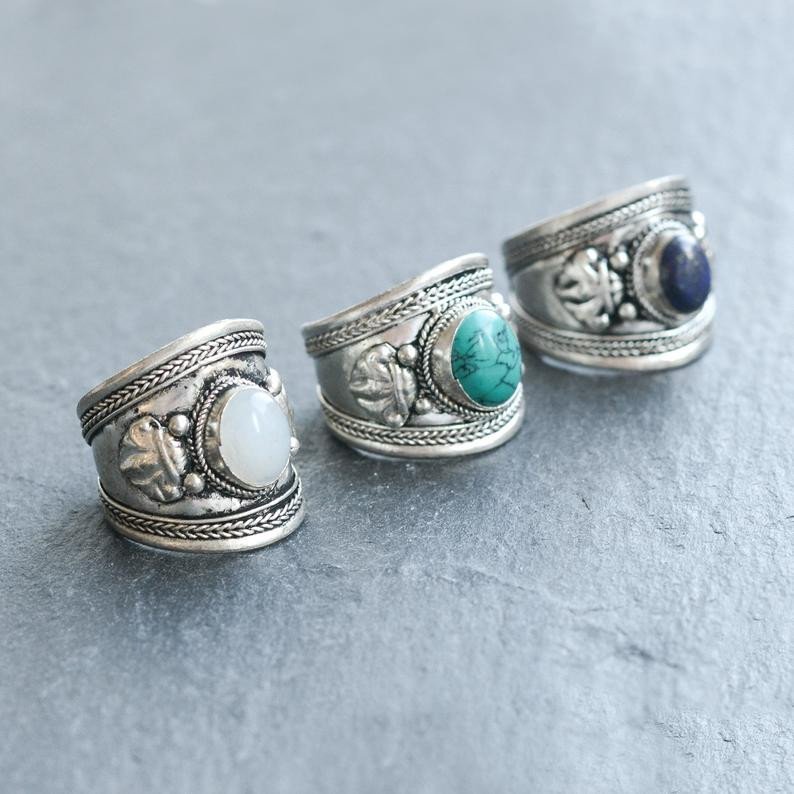 Boho silver turquoise rings