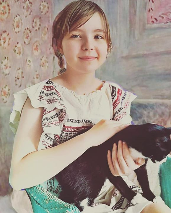 Art recreated Child with Cat by Renoir #gettymuseumchallenge