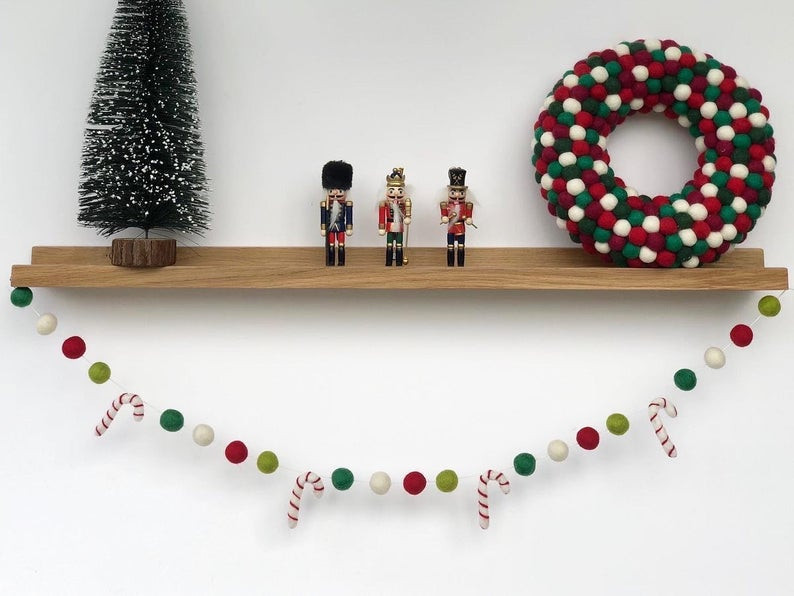 Candy cane felt ball garland