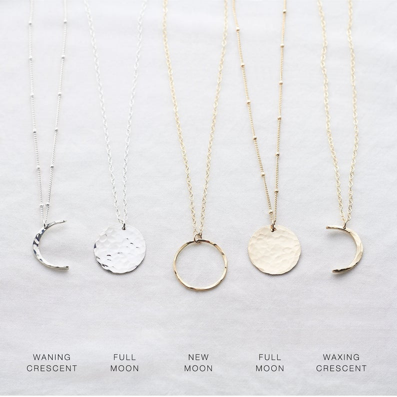 Celestial moon phase necklaces