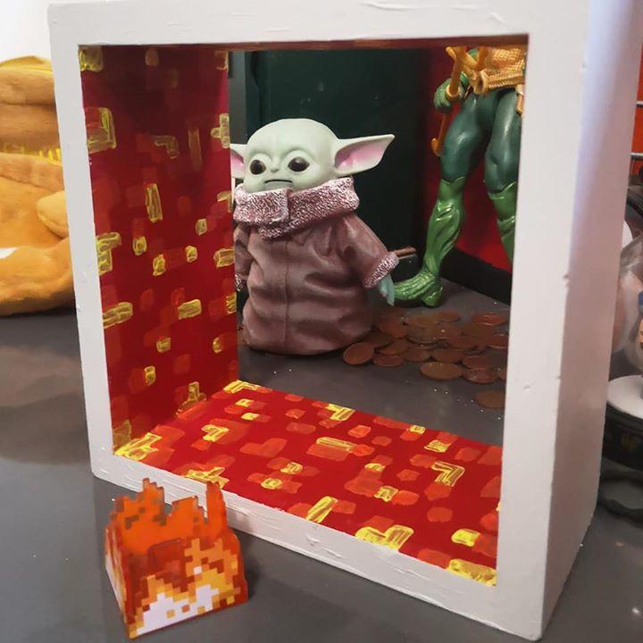 DIY painted Minecraft block shelf - Lava Block