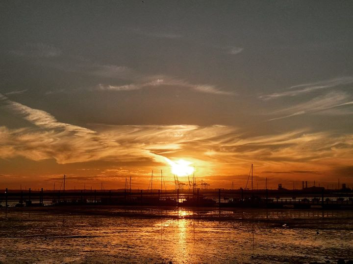 sunset Queenborough harbour Isle of Sheppey