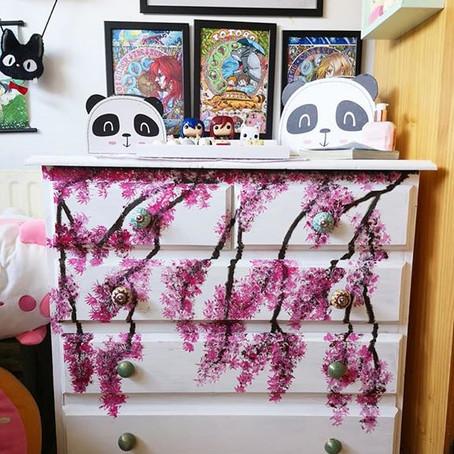 Kawaii upcycle - Cherry Blossom painted drawers