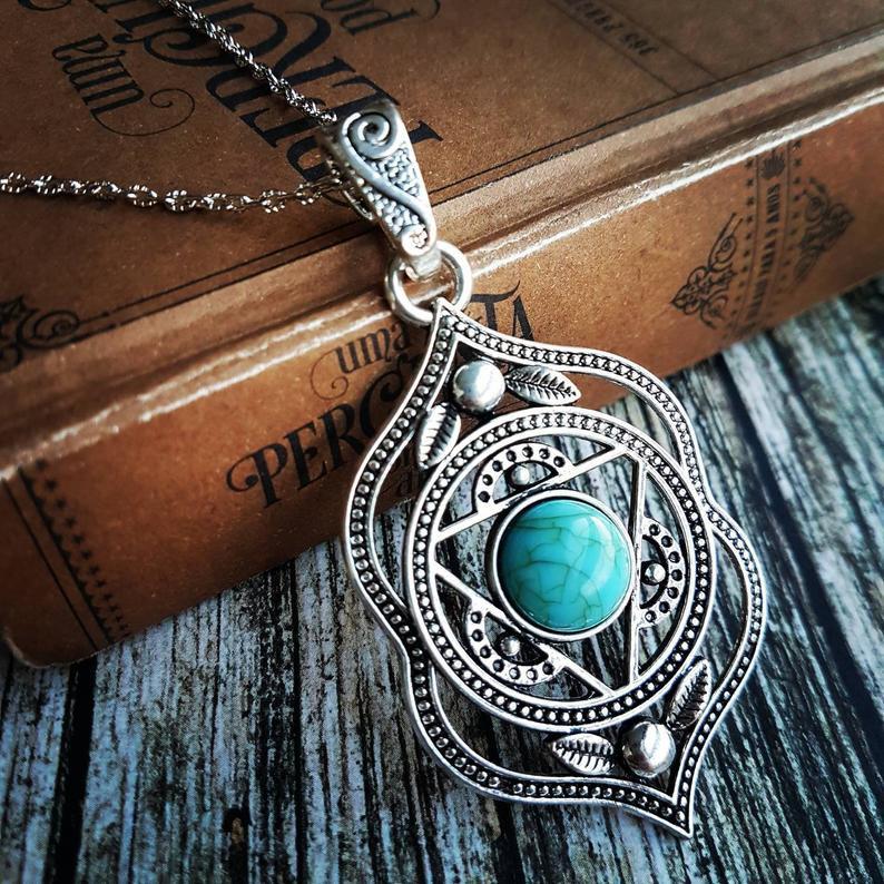 Turquoise silver mandala necklace