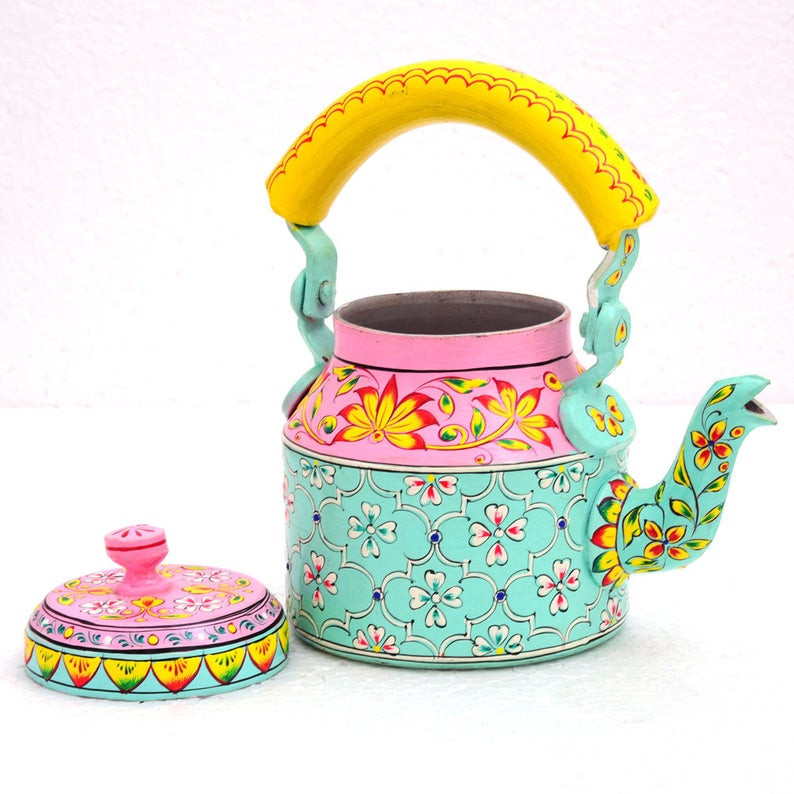 boho painted tea pot kettle
