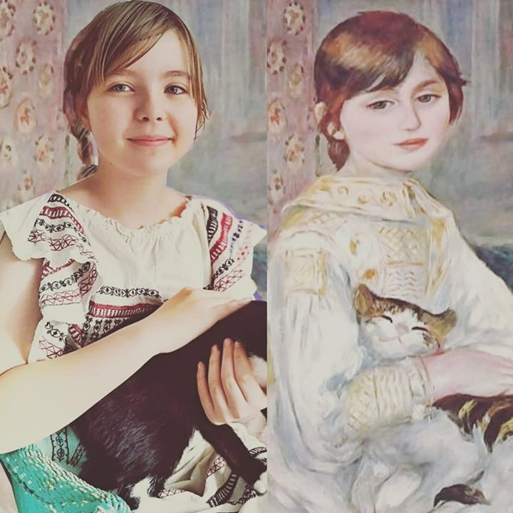Art recreated Child with Cat Julie Manet by Pierre-Auguste Renoir #gettymuseumchallenge