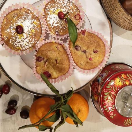 Festive clementine & cranberry muffins
