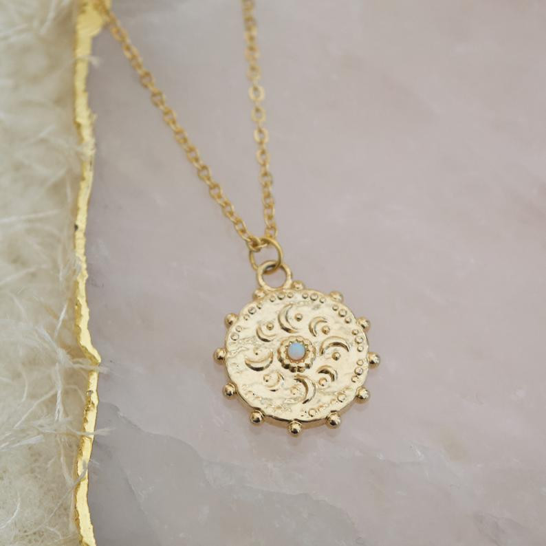 Celestial moon coin opal necklace