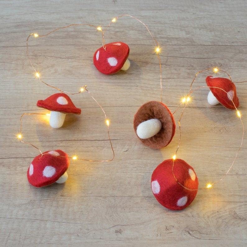Felt mushroom fairy lights