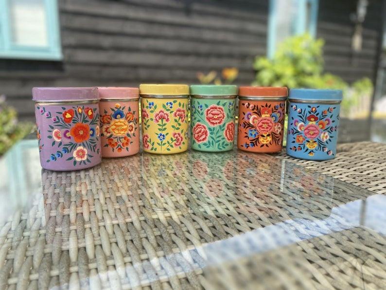 boho painted kitchen tins