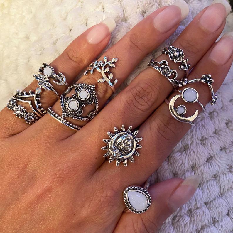 Celestial silver rings