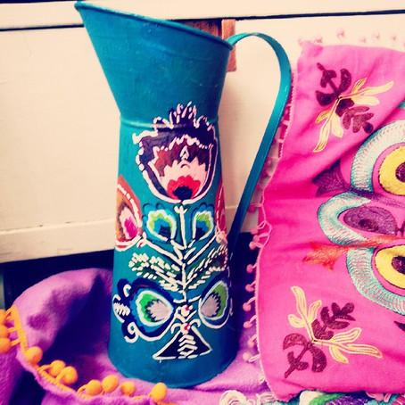 Upcycled jug: Polish Folk Art Stylee