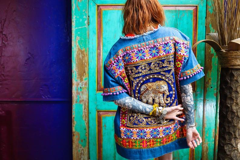 Embellished banjara denim festival jacket