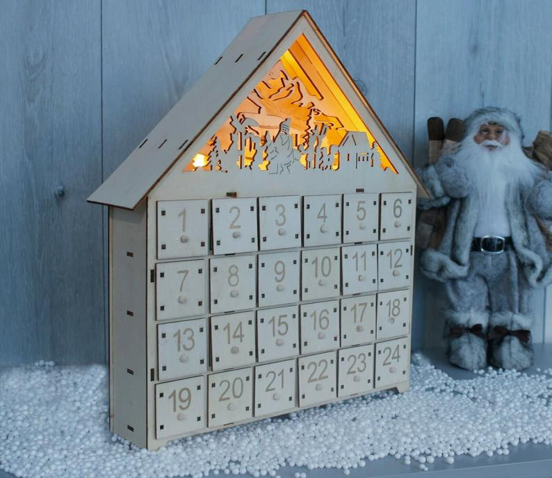 Wooden scandinavian advent calendar