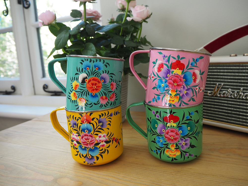 Hand-painted enamelware boho mugs