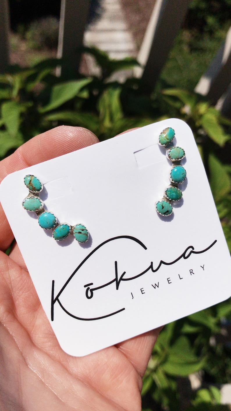 Turquoise ear climbers earrings