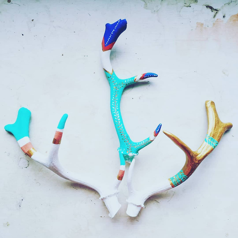 Painted deer antlers