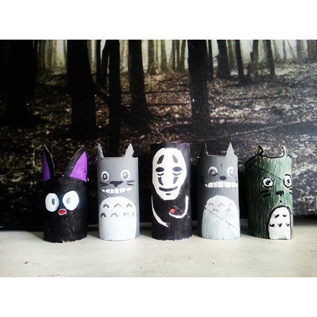 Studio Ghibli character craft - toilet roll tubes