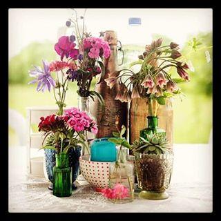 Instagram - #wedding #table #flowers #bottles