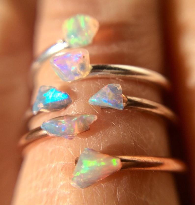 Raw opal and copper ring