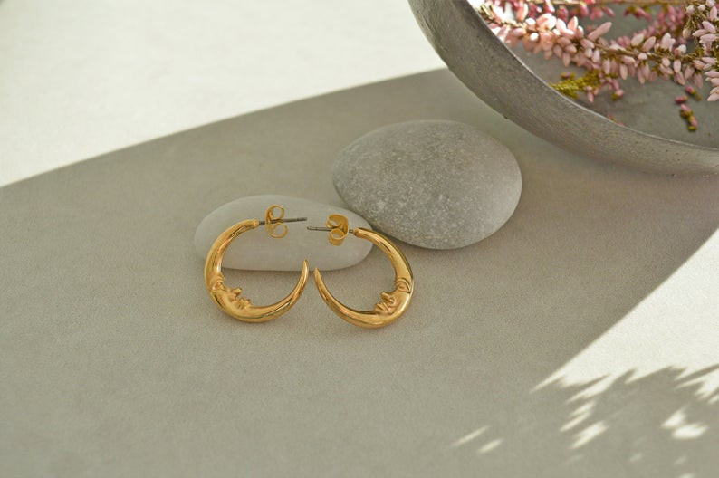 Celestial moon hoop earrings
