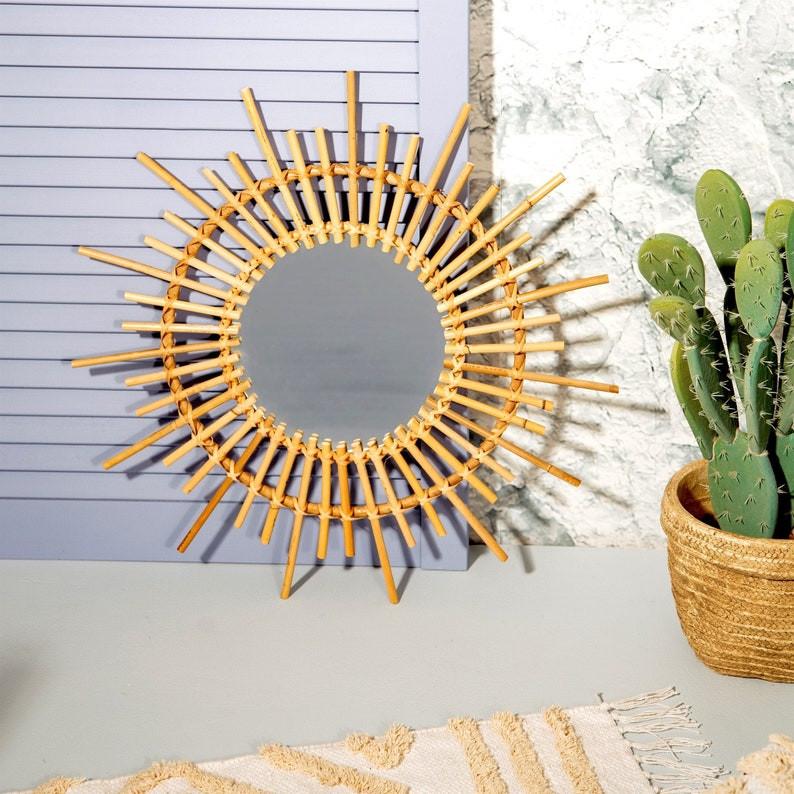 starburst rattan mirror